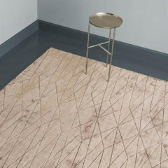 Linie Design Edge Rug Wine Styled in Room with Copper Tray Table