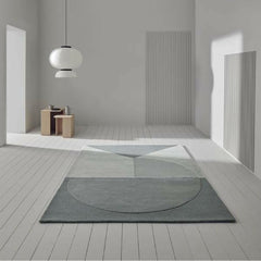 Linie Design Satomi Rug in room with And Tradition Copenhagen's Formaki Pendant Light by Jaime Hayon