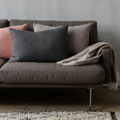 Lissoni Sofa in situ with Fritz Hansen pillows and cashmere throw