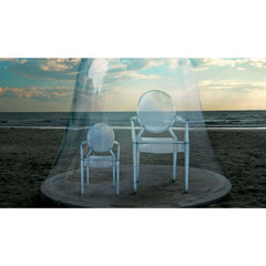 Louis Ghost Lou Lou Ghost by Philippe Starck for Kartell on a Beach