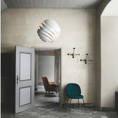 Large Turbo Pendant by Louis Weisdorf with Beetle Dining Chair and Matégot Coatracks by GUBI