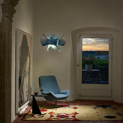 LZF Minimikado Pendant Light Blue in Room at Dusk