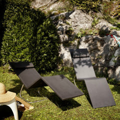 Maarten van Severen MVS Chaise Black Outdoors on Grass Vitra