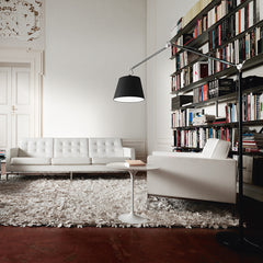 Saarinen Side Table in room with Florence Knoll Sofa
