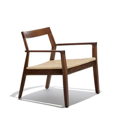 Marc Krusin Lounge Chair Walnut Woven Paper Rush Seat Knoll