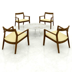 Marc Krusin Lounge Chairs Walnut Yellow Cushions Tulip Table Knoll