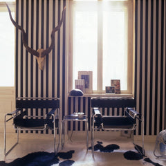 Marcel Breuer Black Leather Wassily Chairs with Antlers in Room Knoll