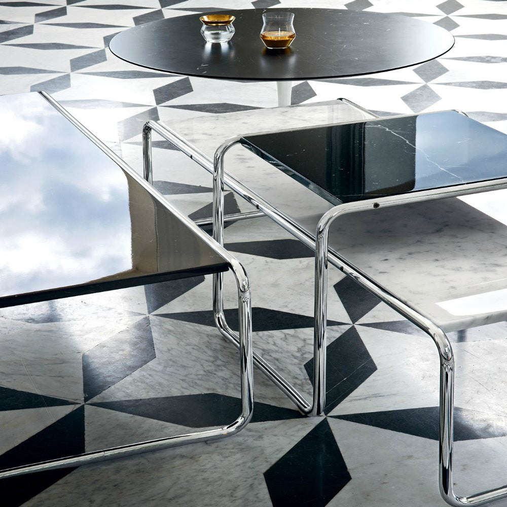 Marcel breuer laccio coffee table knoll modern furniture marcel breuer black and white laccio coffee tables on marble knoll geotapseo Images