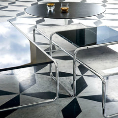 Marcel Breuer Black and White Laccio Coffee Tables on Marble Knoll