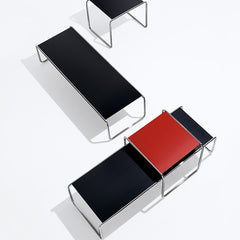 Marcel Breuer Black and Red Laccio Coffee Tables