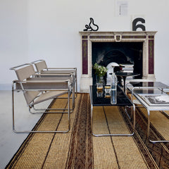 Marcel Breuer White Laccio Coffee Table and Taupe Wassily Chairs Knoll