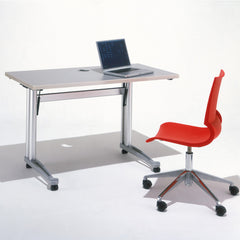 Marco Maran Gigi Armless Chair With Swivel Base Red with Propellor Training Table Knoll
