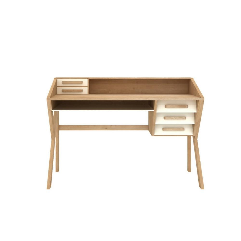 Mr. Marius Origami Desk with 5 Cream Drawers by Ethnicraft
