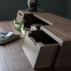 Closeup of Treviso Desk in Walnut by Matthew Hilton for Ercol Furniture