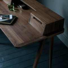Treviso Desk by Matthew Hilton in Walnut Top Side View Ercol Furniture