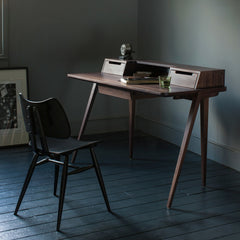 Treviso Desk by Matthew Hilton in Walnut with Lucian Ercolani Black 401 Butterfly Chair for Ercol Furniture