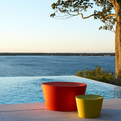 Maya Lin Stones Warm Red and Chartreuse by Pool at Sunset Knoll