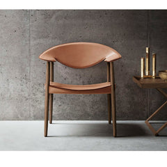 Metropolitan Chair Cognac Saddle Leather Walnut in room with Mogens Koch Folding Table Larsen and Bender Madsen Carl Hansen & Son