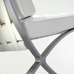 Mies van der Rohe White Barcelona Chair Chrome Closeup Knoll