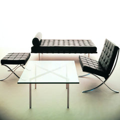 Mies van der Rohe Chrome and Glass Barcelona Table with Barcelona Chair, Couch, and Stool Knoll