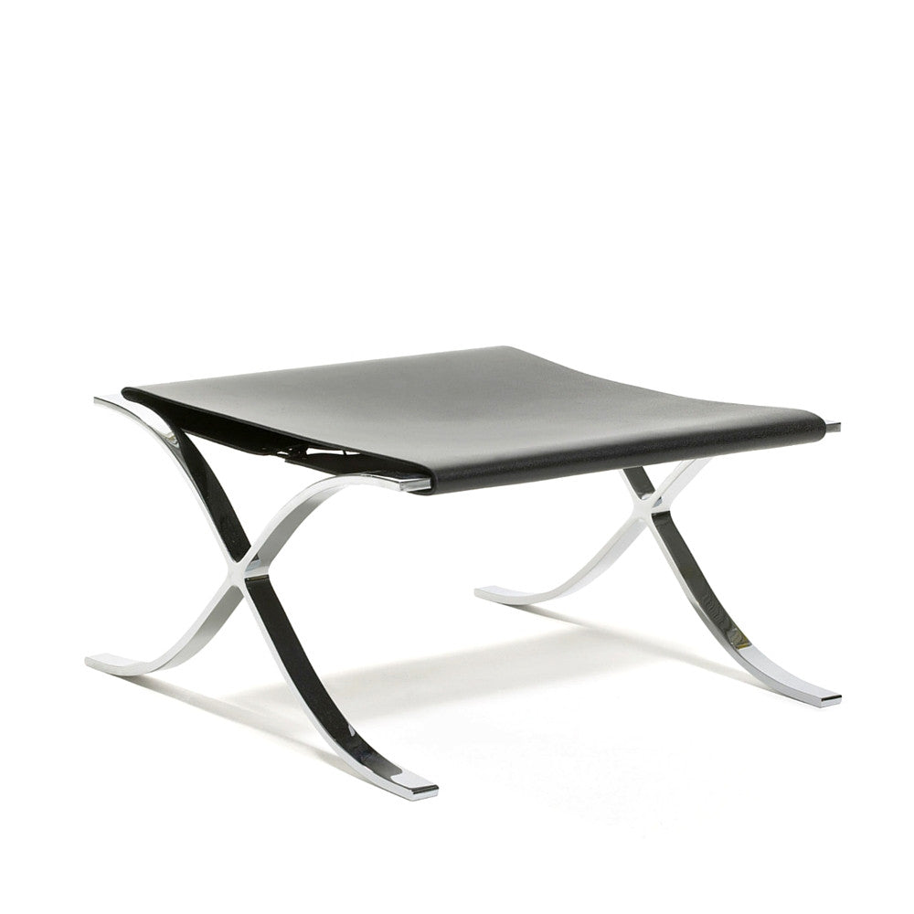 Knoll Barcelona Stool With Cowhide Sling In Black Leather By Mies Van Der  Rohe