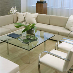 Mies van der Rohe Chrome and Glass Barcelona Table in Situ Knoll