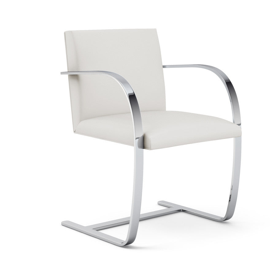 Mies van der Rohe Flat Bar Chair White Angled Knoll