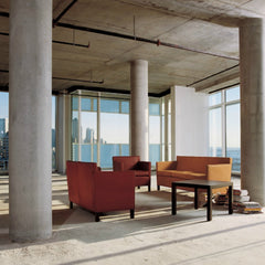 Mies van der Rohe Krefeld Sofa Camel Leather in Concrete Loft Knoll