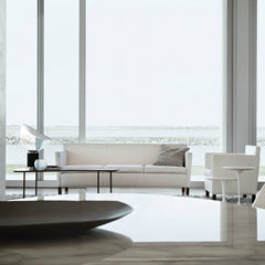 Mies van der Rohe Krefeld White Leather Lounge Chair and Sofa in Living Room Beach House Knoll