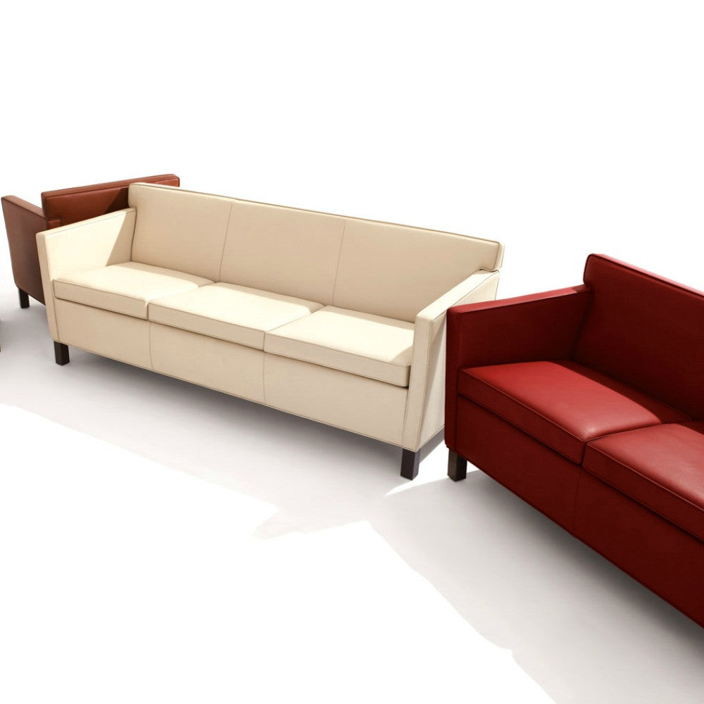 Mies van der Rohe Krefeld Sofa White and Red Leather Knoll