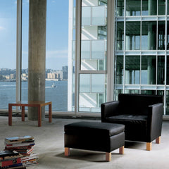 Mies van der Rohe Krefeld Chair and Ottoman Black Leather in Concrete Loft Knoll