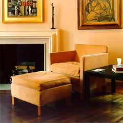 Mies van der Rohe Camel Leather Krefeld Lounge Chair and Ottoman by Fireplace Knoll