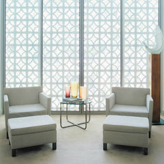 Mies van der Rohe Krefeld Lounge Chairs and Ottomans Serene White Pair in Room Knoll
