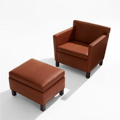 Mies van der Rohe Krefeld Ottoman and Chair Chestnut Leather Knoll