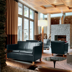 Mies van der Rohe Krefeld Settee Black Leather in Ski Lodge Knoll