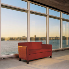Mies van der Rohe Krefeld Settee Red Leather in Concrete Loft Water View Knoll