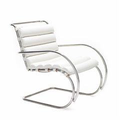 Mies van der Rohe MR Lounge Chair with Arms White Leather Knoll