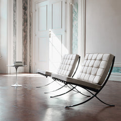 Mies van der Rohe Barcelona Chairs White in Room in Europe Knoll