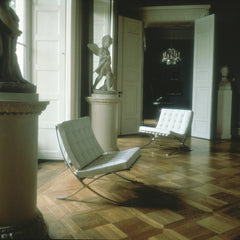 Mies van der Rohe Barcelona Chairs White in European Museum with Sculpture Knoll