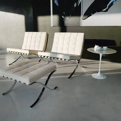 Mies van der Rohe Barcelona Chairs White with Barcelona Ottoman and Tulip Side Table Knoll