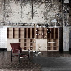 Mogens Koch Bookcase and Cabinets in room with Kaare Klint Safari Chair Carl Hansen and Son