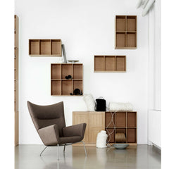Mogens Koch Bookcase and Cabinet in room with Wegner Wing Chair Carl Hansen and Son