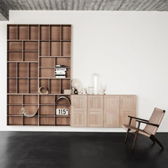 Mogens Koch Bookcase in room with Wegner CH25 Chair