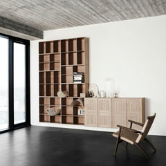 Mogens Kock Bookcase and Shelves in Room with Wegner CH25 Chair Carl Hansen and Son
