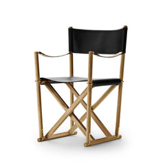 Mogens Koch Folding Chair by Carl Hansen and Son in Oak Oil and Black Leather Thor 301
