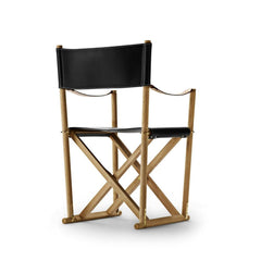 Mogens Koch Folding Chair by Carl Hansen and Son in Oak Oil and Black Leather Thor 301 Back