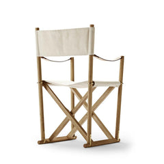 Mogens Koch Folding Chair by Carl Hansen and Son in Oak Oil and Bleached Natural Canvas Back