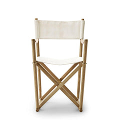 Mogens Koch Folding Chair by Carl Hansen and Son in Oak Oil and Bleached Natural Canvas
