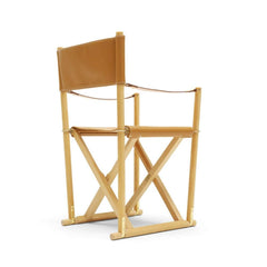 Mogens Koch Folding Chair by Carl Hansen and Son in Oak Oil and Cognac Leather Thor 307 Back