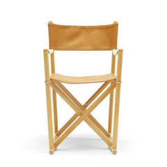 Mogens Koch Folding Chair by Carl Hansen and Son in Oak Oil and Cognac Leather Thor 307